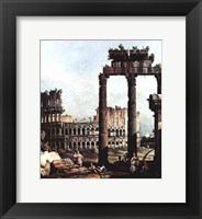 Framed Colosseum and the ruins of the Temple of Castor et Pollux