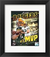 Framed Aaron Rodgers 2011 NFL MVP Portrait Plus