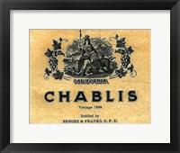 Framed Chablis Wine Label