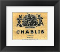 Framed Chablis Wine Label