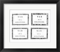 Framed Labels of Chateauneuf du Pape