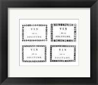 Framed Labels of Chateauneuf du Pape