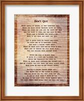 Framed Don't Quit Poem