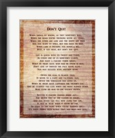 Framed Don't Quit Poem