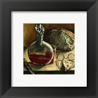 Framed Still Life with Jug of Wine, Bread and Glasses