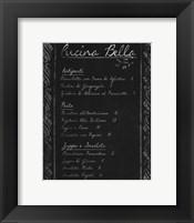 Framed Italian Menu I
