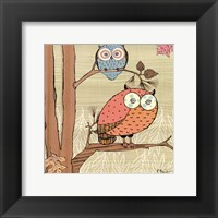 Framed Pastel Owls I - mini