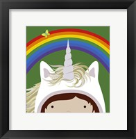 Peek-A-Boo Unicorn Framed Print