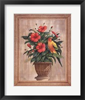 Framed Hibiscus with Parrot