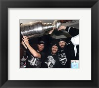 Framed Jeff Carter, Mike Richards, & Dustin Penner with the Stanley Cup Trophy after Winning Game 6 of the 2012 Stanley Cup Finals