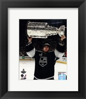 Framed Jonathan Quick with the Stanley Cup Trophy after Winning Game 6 of the 2012 Stanley Cup Finals