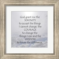 Framed Serenity Prayer - clouds