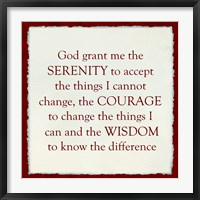 Framed Serenity Prayer - red border