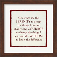 Framed Serenity Prayer - red frame
