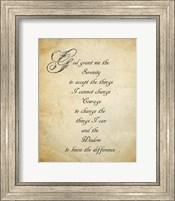 Framed Serenity Prayer - quote