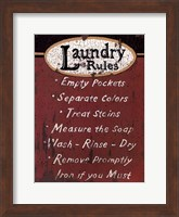 Framed Laundry Rules - Red