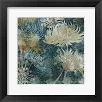 Framed Navy Chrysanthemums I
