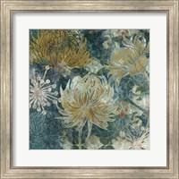Framed Navy Chrysanthemums II