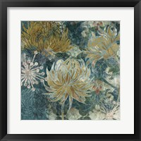 Framed Navy Chrysanthemums II