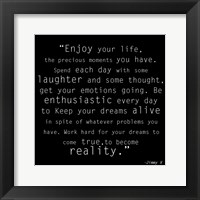 Enjoy Life, Jimmy V Quote Framed Print