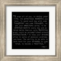 Framed Be Enthusiastic, Jimmy V Quote