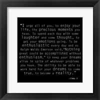 Be Enthusiastic, Jimmy V Quote Framed Print
