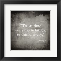 Take Time, Jimmy V Quote Framed Print