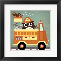Owl in Firetruck and Squirrel Framed Print