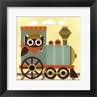 Owl Train Conductor Framed Print