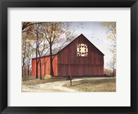 Framed Amish Star Quilt Block Barn