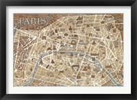 Framed Monuments of Paris Map - Blue