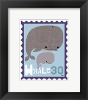 Animal Stamps - Whale Framed Print