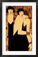 Framed Three Women in Crimson Gold Mosaic