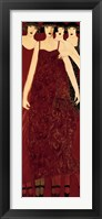 Framed Women in Crimson Gowns