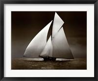 Framed Iverna Yacht at Full Sail, 1895