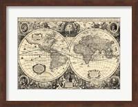 Framed Vintage World Map - Orbis Geographica