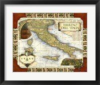 Framed Wine Map of Italy