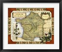 Framed Wine Map of France