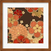 Framed Cascading Blooms in Tangerine I