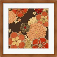 Framed Cascading Blooms in Tangerine II