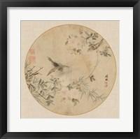 Framed Oriental Bird Silk II