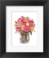 Framed Zinnias and Gerberas