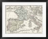 Framed Map of France, Spain & Italy