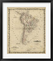 Framed Johnson's Map of South America