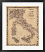 Framed Johnson's Map of Italy
