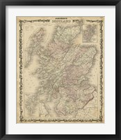 Framed Johnson's Map of Scotland