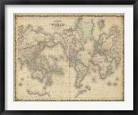 Framed Johnson's Map of the World