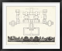 Framed Plan & Elevation for a Roman Villa
