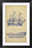Framed Vintage Ship Blueprint