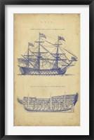 Framed Vintage Ship Blueprint